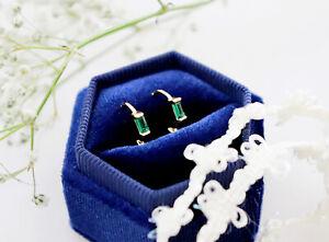 Dainty Gold Huggie Hoop Earrings Silver CZ Emerald Earrings Minimalist Jewellery
