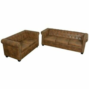 vidaXL Chesterfield Sofa Polstersofa Couch Ledersofa Lounge mehrere Auswahl