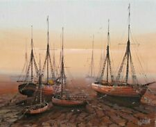 Kevin Platt - Original Oil Painting - Beached Boats at Dusk. Cornwall.