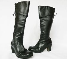 Ladies CLARKS winter black leather knee high boots/ shoes/ heel size 4.5 D