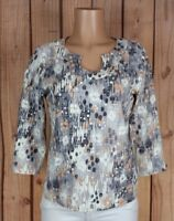 HEARTS OF PALM Womens Size Medium 3/4 Sleeve Shirt Horseshoe Neck Polkadot Top