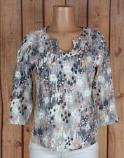 HEARTS OF PALM Womens Size Medium 3/4 Sleeve Shirt Horseshoe Neck Polkadot Top