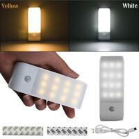 12 LED USB Rechargeable PIR Motion Sensor Induction Night light Cabinet Lamp
