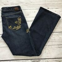 Express X2 Womens SZ 8 Bootcut W10 Gold Embroidered Sequins Low-Rise Blue Jeans