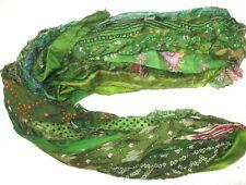 @ 12 yards Unstitched Recycled PURE Silk Sari Ribbon Yarn tassels SKEINS HENNA