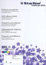 CARTA ADESIVA BIANCA A4 ETICHETTE PER STAMPANTI INK JET E LASER 100 FOGLI