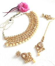 New Indian Bollywood Costume Jewellery Choker Set Gold Bronze stone