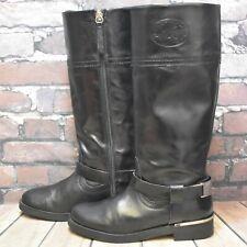 Girls Zara Kids Black Leather Zip Up Low Heel Knee High Boots Size UK 2 EUR 34