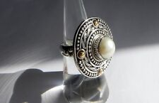 💕💕14g sterling silver BA 925 full HM 18k gold cultured pearl ring M.5 US 6.5