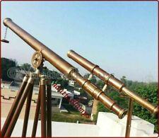 Vintage Brass TELESCOPE TRIPOD Nautical Antique Marine Navy double barrel Scope