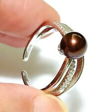 Solitaire Beautiful Brown Bronze Cultured 6.5 - 7mm Round Pearl Ring Size 7 - 8