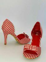Axel Ladies Shoes Ferrari Red 50's Gingham Check Size 4 UK/AUS / 37 Eu / 6 Us