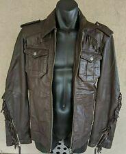 SIXTY ENERGIE Dark Brown Fringed Full Zip Leather Motorcycle Biker Jacket Large