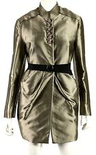 VALENTINO ROMA Metallic Pewter Button & Snap Front Belted Coat 44