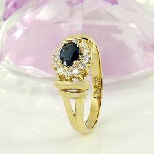 Ring  in 585/- Gelbgold  mit 1 Saphir ca 0,25 ct + 12 Diamanten 0,24 ct Gr. 58
