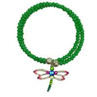 """Anne Koplik """"Harmony"""" Dragonfly Charm Wrapsody Bracelet Green Made in USA"""