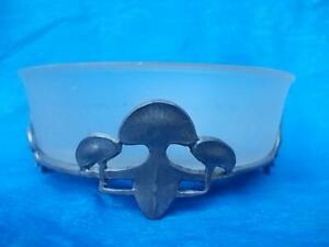 A1 / TUDRIC PEWTER AND FROSTED GLASS BUTTER DISH WITH THREE LEAF CLOVER FEET
