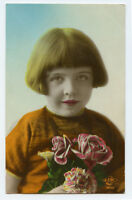 1920s Child Children Cute PRETTY YOUNG GIRL French photo postcard