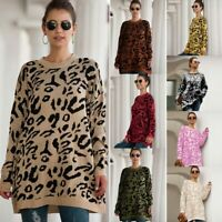 Loose Knitwear Sweater Womens Knit Shirt T-Shirt Jumper Tops Long Sleeve Knitted