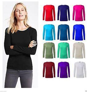 Womens Plain Tshirt Ladies Long Sleeve Round Neck T Shirt Top Plus Sizes 8-26