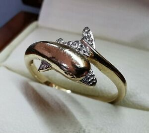 Genuine 9ct 9k gold and diamond dolphin ring - size 6.75 or M.5 - weight 2.07g
