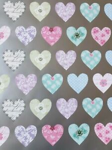 2 SHEETS OF THICK GLOSSY VALENTINES DAY HEARTS WRAPPING PAPER