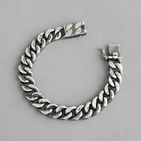 Retro Woman's 10mm Heavy REAL S925 Sterling Silver Curb Chain Bracelet Bangle