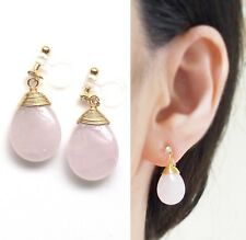 Gemstone Teardrop Pink Rose Quartz Drop Invisible Clip On Earrings Gold
