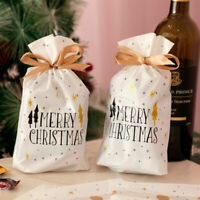 10x Christmas Gift Bags Cookies Candy Drawstring Packaging Xmas Party Decor