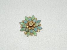 Gorgeous Blue & Green Milky Moonstone & Faux Pearl Brooch Pin
