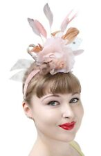 1950s Style Peach Floral Fascinator Feather Headband Bridal Headdress Bride