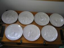 Vintage Lot of 7 White Glazed Frankoma Signed Holiday Christmas Annual Collector
