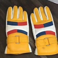 Vtg Pair Yellow, White, Blue, Red Ski Gloves