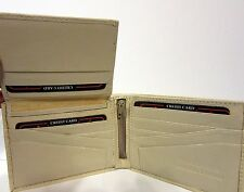 Lords Genuine Leather Bi-Fold Removable Pass Case Wallet Beige NEW