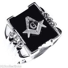 16x12 mm 925 Sterling Silver Mason Masonic Black Onyx Men Ring Jewelry Size 14