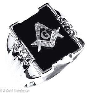 Mason Masonic Semi-Precious Black Onyx Stone Rhodium Plated Men Ring Size 7