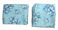 Vintage Twin Flat & Fitted Sheets Blue Purple White Daisies Flowers Floral 50/50
