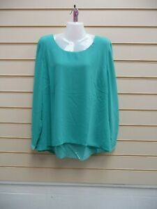 Sheego Ladies Tunic Blouse Top Turquoise Size 28 Sequin Detail Chiffon BNWT G014