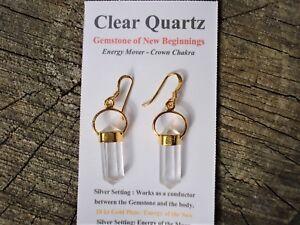 18K GOLD on Silver Clear Quartz Earrings Double Point Earrings-Gorgeous Clarity!