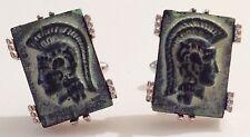 bouton de manchette tibi vintage couleur argent décor pierre gravé relief 348