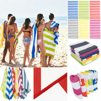 Striped Extra Large Beach Towel Microfibre Lightweight ❤Speed Dry❤Travel Towel 1