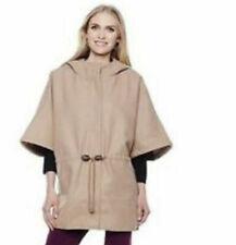 NEW Sporto Missy Tan Camel Wool Blend Poncho Cape Hood Plus Size