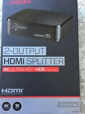 Rocketfish- 2-Output HDMI Splitter with 4K and HDR Pass-Through - Black NEW