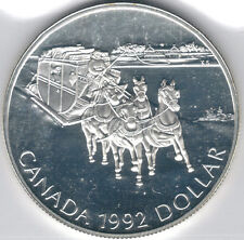 TMM* 1992 silver Canada Commemorative Dollar Ice Stagecoach proof