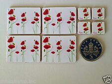 """FOUR DOLLS HOUSE MINIATURE """"POPPY"""" TABLE PLACE MATS & COASTERS - Real Cork Backs"""