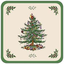 "Spode SET OF 6 COASTERS Christmas Tree 4"" Square Cork Back Holiday 8338 NEW"