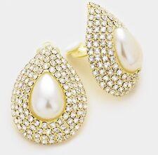 "1.5"" Big Clip On Stud Pearl Cream Gold Clear Crystal Rhinestone Earrings"