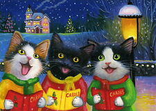 Kittens cat Christmas caroling house snow lamp holiday OE aceo print art