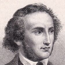 Portrait XIXe Eau-Forte Felix Mendelssohn Bartholdy Compositeur Musique