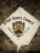 Great Rivers Council 1974 Philmont Rare  WHT Neckerchief Boy Scout Lodge 216 MO